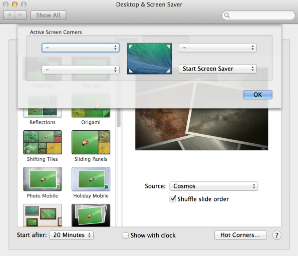 Mac OS X Hot Corners